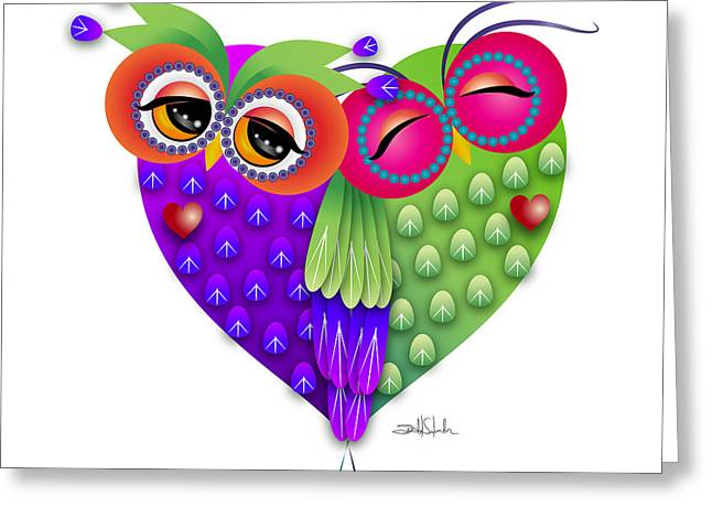 Nocturnal Animal Print Greeting Cards - Owls love Greeting Card by Isabel Salvador