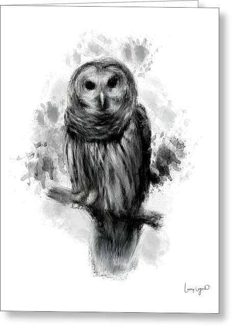 Grey Fine Art Greeting Cards - Owls Portrait Greeting Card by Lourry Legarde