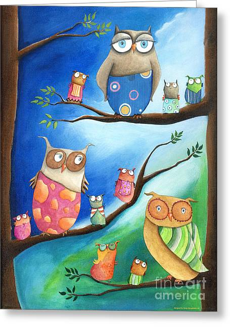 Crafts For Kids Greeting Cards - Owls School Greeting Card by Sonja Mengkowski