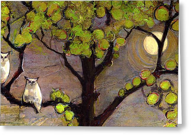 Tree Art Greeting Cards - Owls Sitting in the Moonlight Greeting Card by Blenda Studio