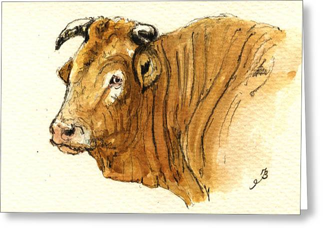 Nature Study Paintings Greeting Cards - Ox head painting study Greeting Card by Juan  Bosco