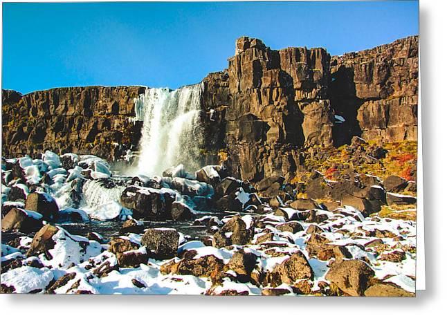 Kjona Greeting Cards - Oxararfoss Iceland Greeting Card by Mirra Photography