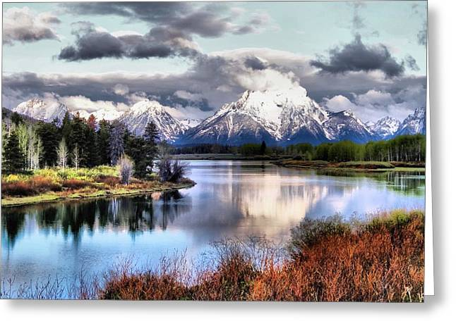 Reflections On Snow Greeting Cards - Oxbow Bend Greeting Card by Dan Sproul