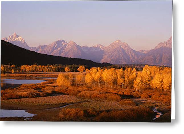Pale Blue Greeting Cards - Oxbow Bend Grand Teton National Park Wy Greeting Card by Panoramic Images