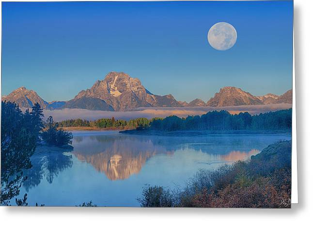 Oxbow Bend Moonset Limited Edition Greeting Card by Greg Norrell