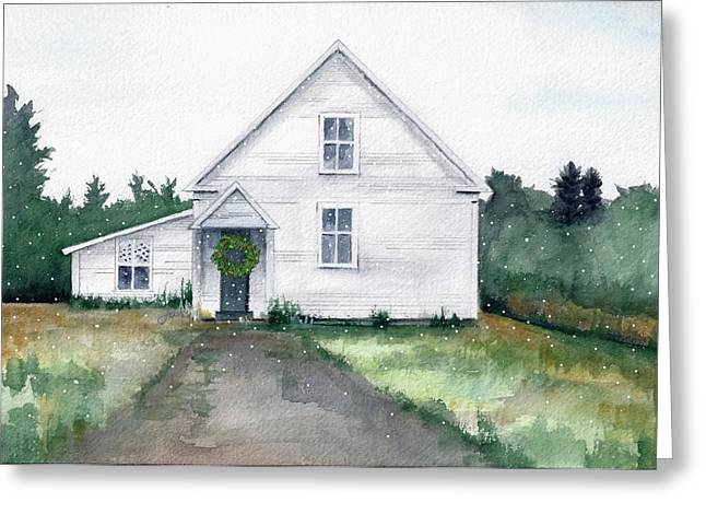 Maine Landscape Mixed Media Greeting Cards - Oxbow ME - Christmas Greeting Card by Judith Rice