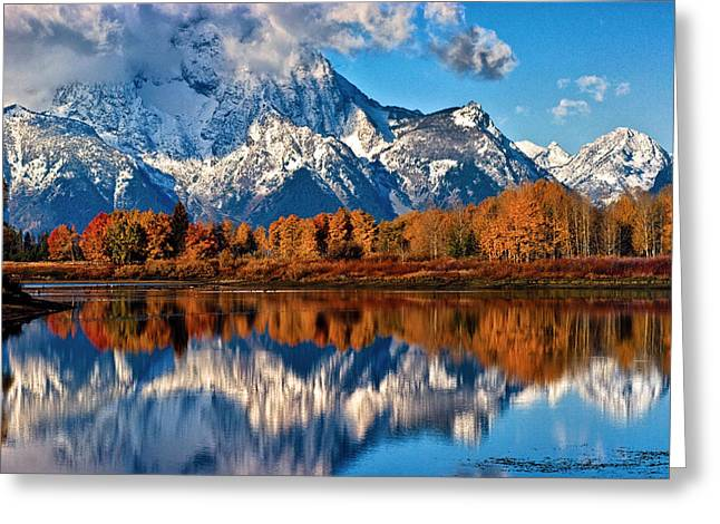 Reflection In Water Greeting Cards - Oxbow Reflections Greeting Card by Brian Kerls