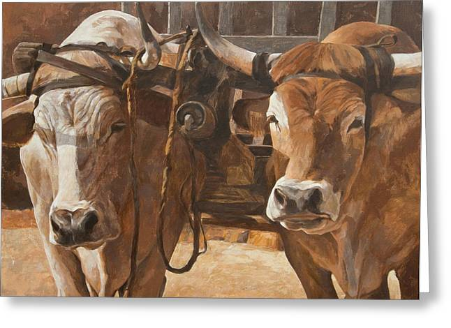 Neutral Colours Greeting Cards - Oxen With Yoke Greeting Card by Anke Classen
