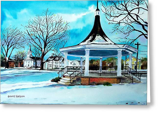 Millbury Greeting Cards - Oxford Bandstand Greeting Card by Scott Nelson