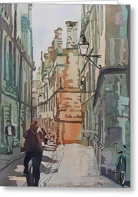 Streetscenes Paintings Greeting Cards - Oxford Lane Greeting Card by Jenny Armitage