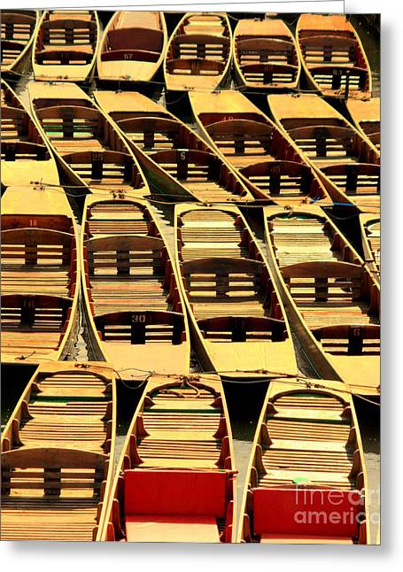 Boats On Water Greeting Cards - Oxford Punts Greeting Card by Linsey Williams