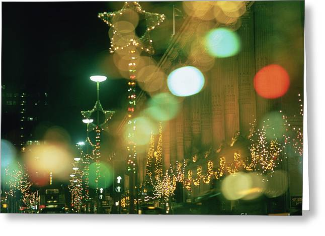 Department Stores Greeting Cards - Oxford Street at Christmas Greeting Card by Robert Hallmann