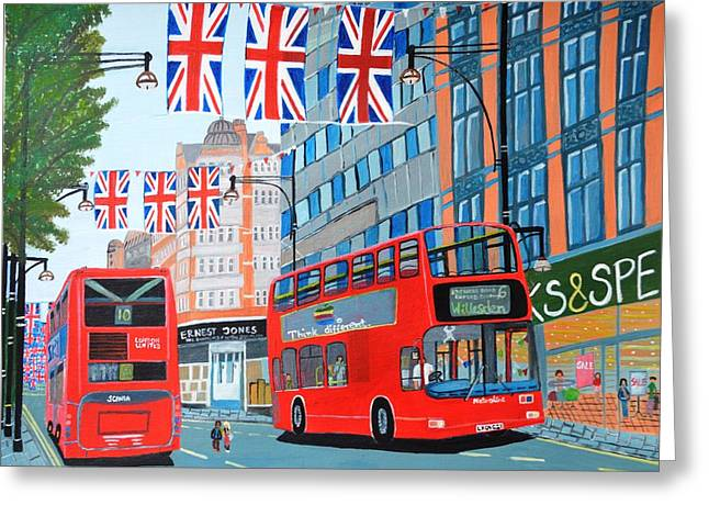 Oxford Street- Queen's Diamond Jubilee  Greeting Card by Magdalena Frohnsdorff