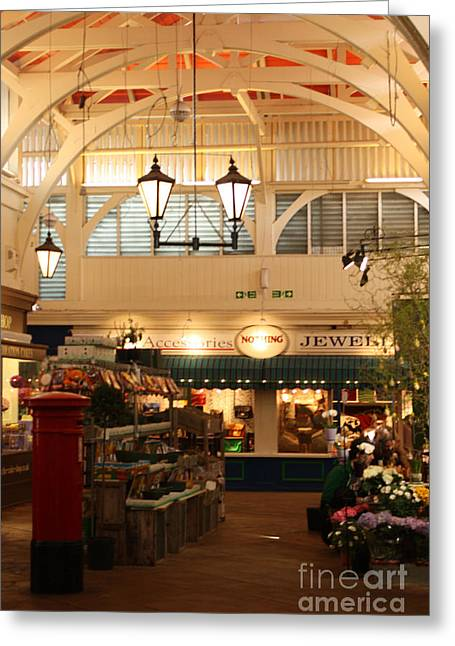 Pillar Box Greeting Cards - Oxfords Covered Market Greeting Card by Terri  Waters