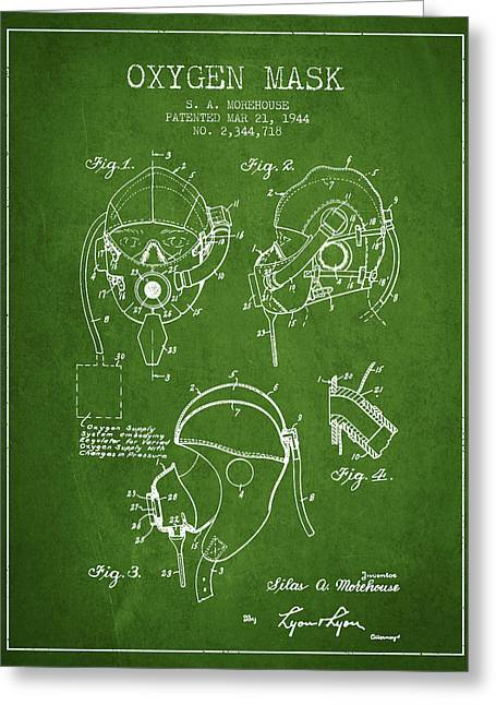 Oxygen Greeting Cards - Oxygen Mask Patent from 1944 - Green Greeting Card by Aged Pixel