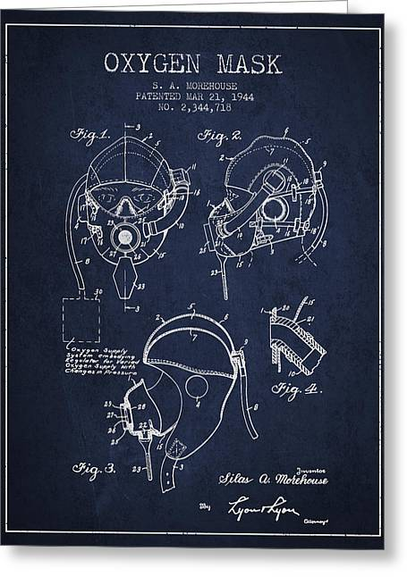 Oxygen Greeting Cards - Oxygen Mask Patent from 1944 - Navy Blue Greeting Card by Aged Pixel
