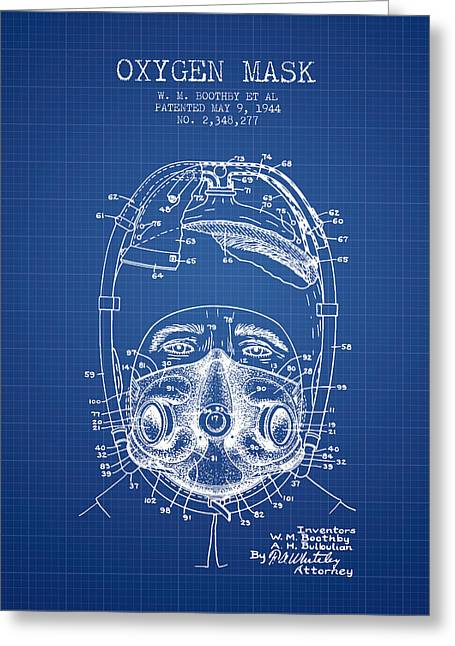 Oxygen Greeting Cards - Oxygen Mask Patent from 1944 - One - Blueprint Greeting Card by Aged Pixel