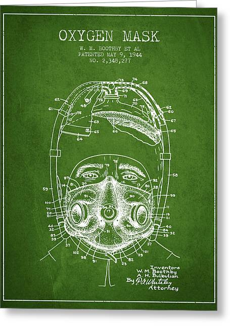 Oxygen Greeting Cards - Oxygen Mask Patent from 1944 - One - Green Greeting Card by Aged Pixel
