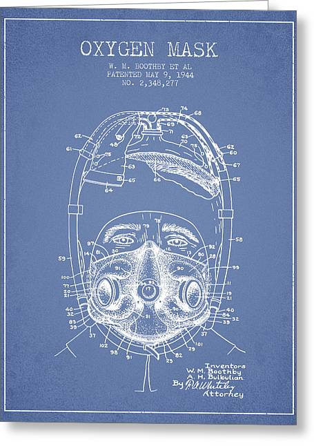 Oxygen Greeting Cards - Oxygen Mask Patent from 1944 - One - Light Blue Greeting Card by Aged Pixel