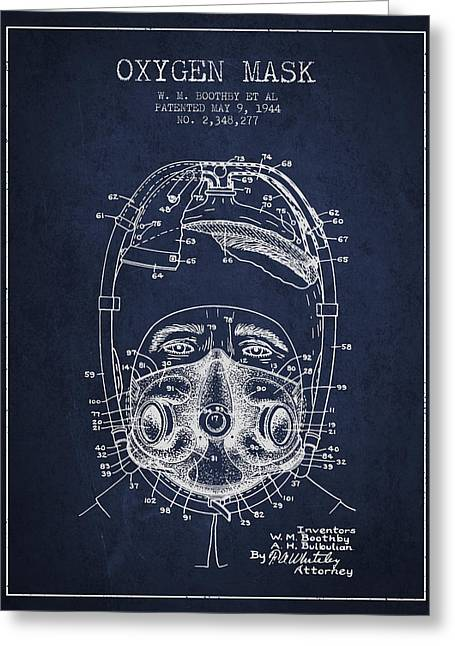 Oxygen Greeting Cards - Oxygen Mask Patent from 1944 - One - Navy Blue Greeting Card by Aged Pixel