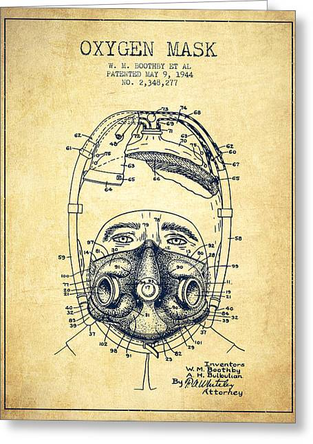Oxygen Greeting Cards - Oxygen Mask Patent from 1944 - One - Vintage Greeting Card by Aged Pixel