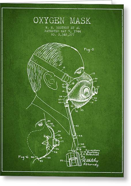 Oxygen Greeting Cards - Oxygen Mask Patent from 1944 - Three - Green Greeting Card by Aged Pixel