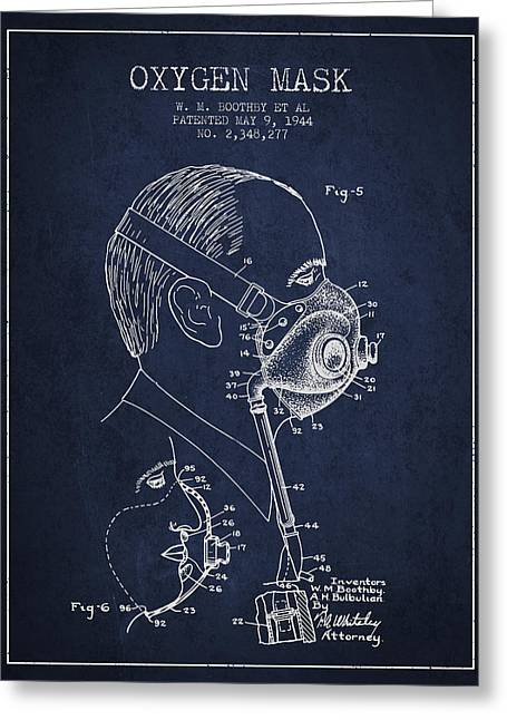 Oxygen Greeting Cards - Oxygen Mask Patent from 1944 - Three - Navy Blue Greeting Card by Aged Pixel