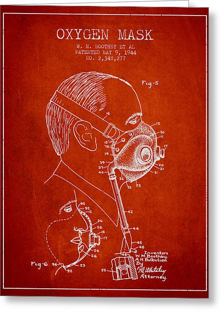 Oxygen Greeting Cards - Oxygen Mask Patent from 1944 - Three - Red Greeting Card by Aged Pixel