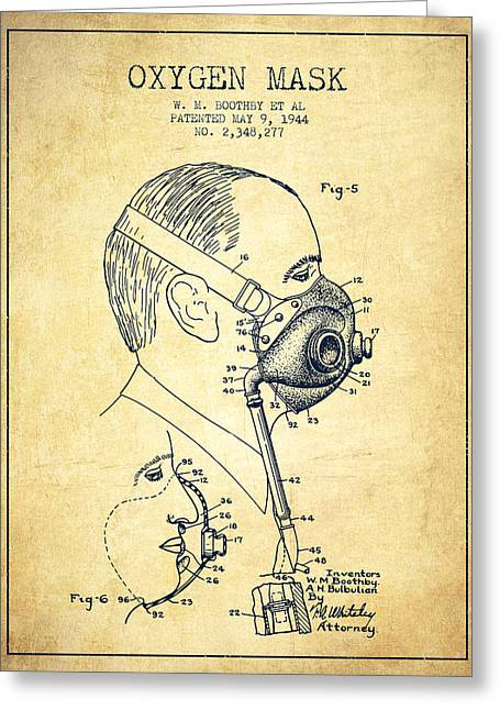 Oxygen Greeting Cards - Oxygen Mask Patent from 1944 - Three - Vintage Greeting Card by Aged Pixel