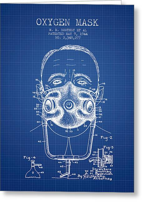 Oxygen Greeting Cards - Oxygen Mask Patent from 1944 - Two - Blueprint Greeting Card by Aged Pixel