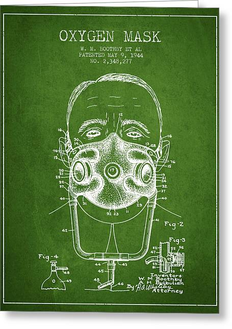 Oxygen Greeting Cards - Oxygen Mask Patent from 1944 - Two - Green Greeting Card by Aged Pixel