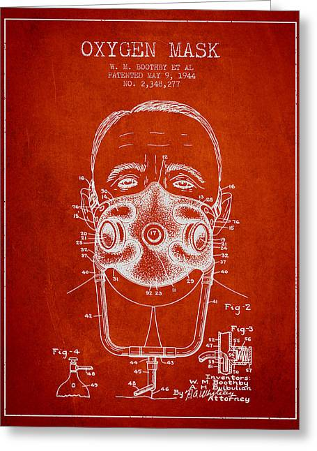 Oxygen Greeting Cards - Oxygen Mask Patent from 1944 - Two - Red Greeting Card by Aged Pixel