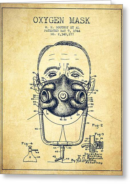 Oxygen Greeting Cards - Oxygen Mask Patent from 1944 - Two - Vintage Greeting Card by Aged Pixel