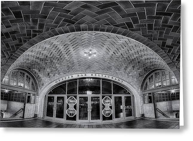 Manhattan Greeting Cards - Oyster Bar BW Greeting Card by Susan Candelario