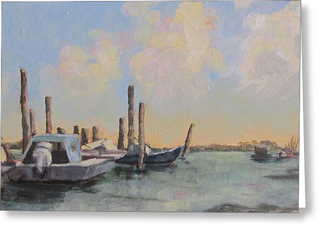 Town Of Franklin Greeting Cards - Oyster Boat Evening Greeting Card by Susan Richardson