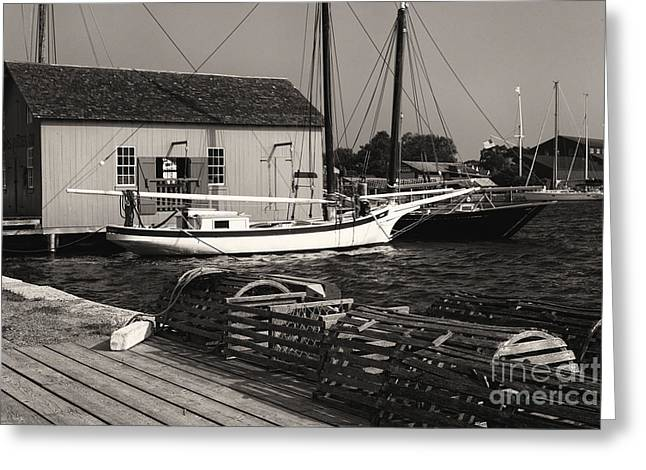 New England Village Greeting Cards - Oyster Sloop at the Dock Greeting Card by George Oze