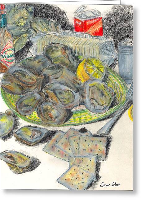 Lemon Art Drawings Greeting Cards - Oysters and Crackers Greeting Card by Connie Thomas