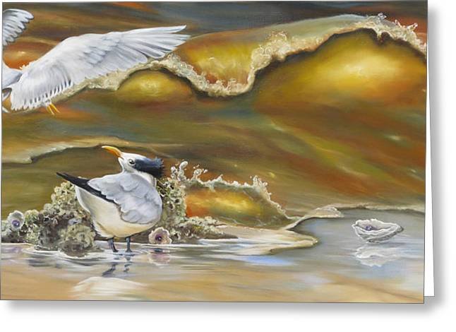 Tern Greeting Cards - Oysters And Terns Greeting Card by Phyllis Beiser