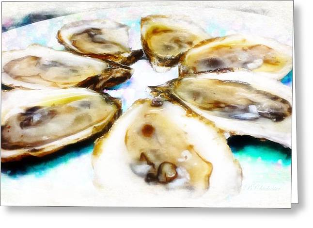 Raw Oyster Greeting Cards - Oysters On The Half Greeting Card by Barbara Chichester
