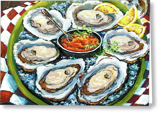 And Paintings Greeting Cards - Oysters on the Half Shell Greeting Card by Dianne Parks