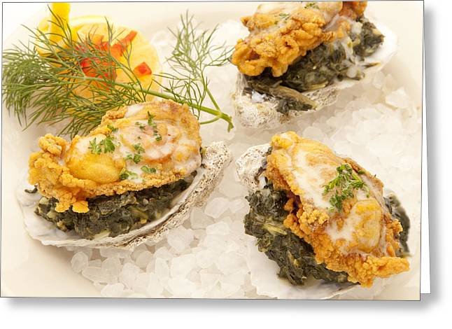 Oyster On Half-shell Greeting Cards - Oysters Rockefeller Greeting Card by New  Orleans Food
