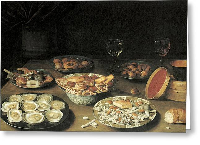 Oyster On Half-shell Greeting Cards - Oysters with Five Dishes of Delicacies and Two Wine Glasses Greeting Card by Osias Beert the Elder