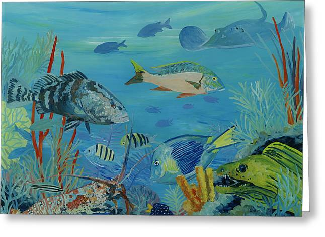 Snapper Paintings Greeting Cards - Oysy Greeting Card by Danielle  Perry