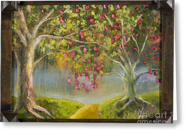 Tree Roots Paintings Greeting Cards - Oz Apple Orchard with Gold Leaf by Vic Mastis Greeting Card by Vic  Mastis