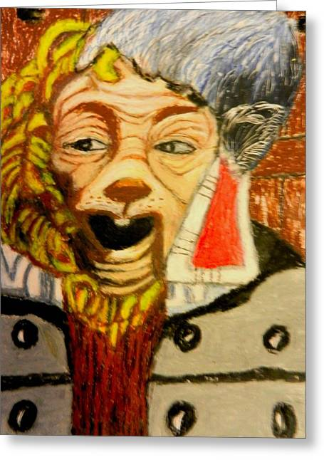 Characters Pastels Greeting Cards - Oz Cowardly Lion Guard Greeting Card by Jo-Ann Hayden