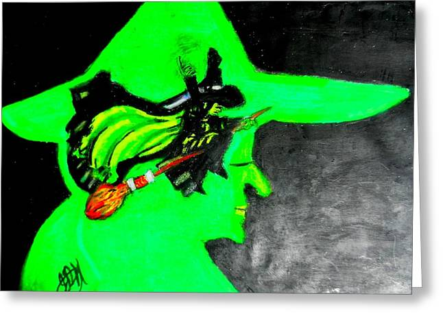 Wicked Witch Of The West Greeting Cards - Oz Flying Wicked Witch  Greeting Card by Jo-Ann Hayden