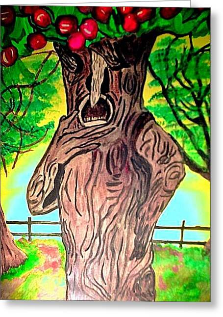 Talking Pastels Greeting Cards - Oz Grumpy Apple Tree Greeting Card by Jo-Ann Hayden