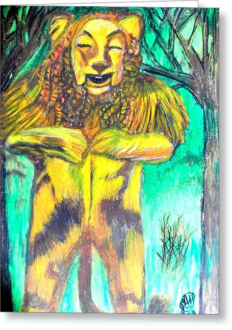 Characters Pastels Greeting Cards - Oz The Cowardly Lion Greeting Card by Jo-Ann Hayden