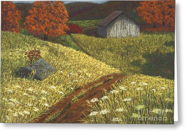 Rural Scene Pastels Greeting Cards - Ozark Barn Autumn Greeting Card by Garry McMichael