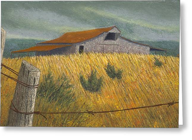 Rural Landscapes Pastels Greeting Cards - Ozark Barn Madison County Greeting Card by Garry McMichael